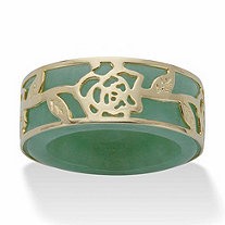 Genuine Green Jade Floral Overlay Ring Band in Gold Tone over Sterling Silver