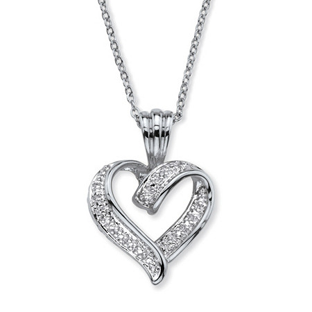"Diamond Accent Two-Tone Pave-Style Looped Heart Pendant Necklace in Silvertone 18""-19"" at PalmBeach Jewelry"