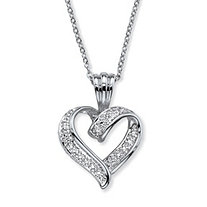 SETA JEWELRY Diamond Accent Two-Tone Pave-Style Looped Heart Pendant Necklace in Silvertone 18