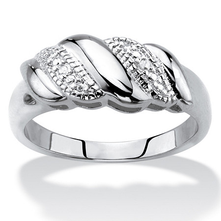 Diamond Accent Diagonal Banded S-Link Ring in Silvertone at PalmBeach Jewelry