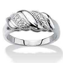 Diamond Accent Diagonal Banded S-Link Ring in Silvertone