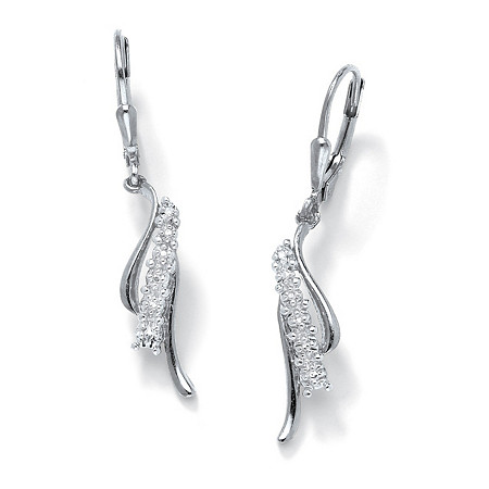 Diamond Accent Waterfall Drop Earrings in Platinum over Sterling Silver at PalmBeach Jewelry