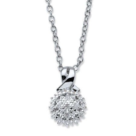 "Diamond Accent Round Cluster Pendant Necklace Platinum-Plated 18""-20"" at PalmBeach Jewelry"