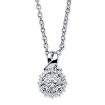 Diamond Accent Round Cluster Pendant Necklace Platinum-Plated 18