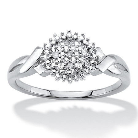 Diamond Accent Round Cluster Crossover Ring Platinum-Plated at PalmBeach Jewelry