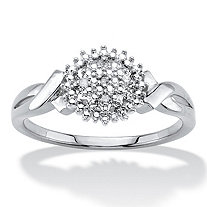 Diamond Accent Round Cluster Crossover Ring Platinum-Plated