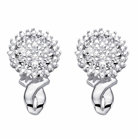 Diamond Accent Round Cluster Button Earrings Platinum-Plated at PalmBeach Jewelry
