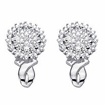 Diamond Accent Round Cluster Button Earrings Platinum-Plated