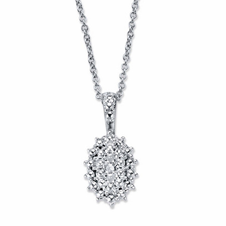 "Pave Diamond Accent Cluster Pendant Necklace Platinum-Plated 18""-20"" at PalmBeach Jewelry"