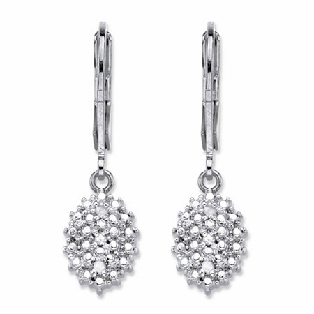 Pave Diamond Accent Cluster Drop Lever Back Earrings Platinum-Plated at PalmBeach Jewelry