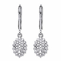 Pave Diamond Accent Cluster Drop Lever Back Earrings Platinum-Plated