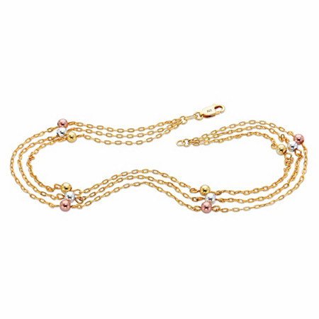 """Tri-Tone Beaded Triple-Strand Ankle Bracelet in Rose Gold, Silver and 18k Gold over Sterling Silver 11"""" at PalmBeach Jewelry"""