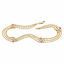 Tri-Tone Beaded Triple-Strand Ankle Bracelet in Rose Gold, Silver and 18k Gold over Sterling Silver 11