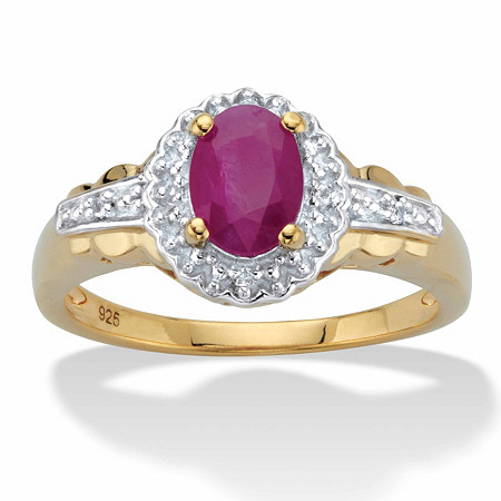 Oval-Cut Genuine Ruby and Topaz Halo Cocktail Ring 1.18 TCW in 18k Gold over Sterling Silver at PalmBeach Jewelry