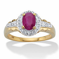 Oval-Cut Genuine Ruby and Topaz Halo Cocktail Ring 1.18 TCW in 18k Gold over Sterling Silver