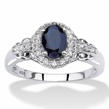 Oval-Cut Genuine Blue Sapphire and White Topaz Halo Cocktail Ring 1.12 TCW in Sterling Silver at PalmBeach Jewelry