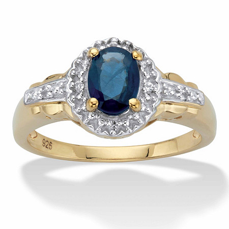 Oval-Cut Genuine Blue Sapphire and White Topaz Halo Cocktail Ring 1.12 TCW in 14k Gold over Sterling Silver at PalmBeach Jewelry