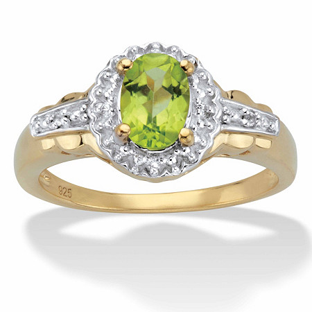 Oval-Cut Genuine Peridot and White Topaz Accent Halo Cocktail Ring 1.07 TCW in 14k Gold over Sterling Silver at PalmBeach Jewelry