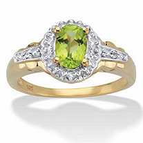 Oval-Cut Genuine Peridot and White Topaz Accent Halo Cocktail Ring 1.07 TCW in 14k Gold over Sterling Silver