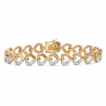 """Diamond Accent Two-Tone  Heart-Link Bracelet 14k Gold-Plated 7.25"""" at PalmBeach Jewelry"""