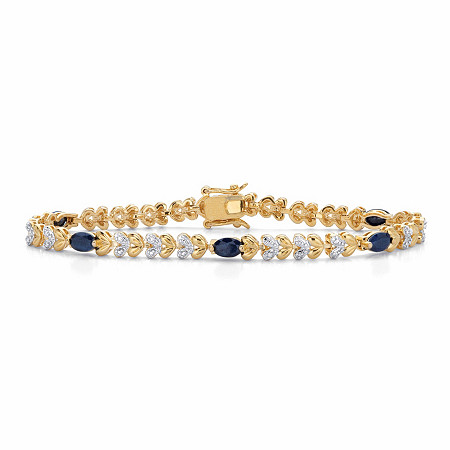 """Genuine Oval-Cut Blue Sapphire and Diamond Accent Two-Tone Heart-Link Bracelet 3 TCW 14k Gold-Plated 7.25"""" at PalmBeach Jewelry"""