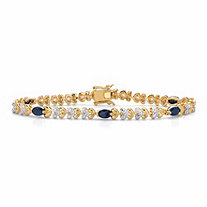 Genuine Oval-Cut Blue Sapphire and Diamond Accent Two-Tone Heart-Link Bracelet 3 TCW 14k Gold-Plated 7.25""