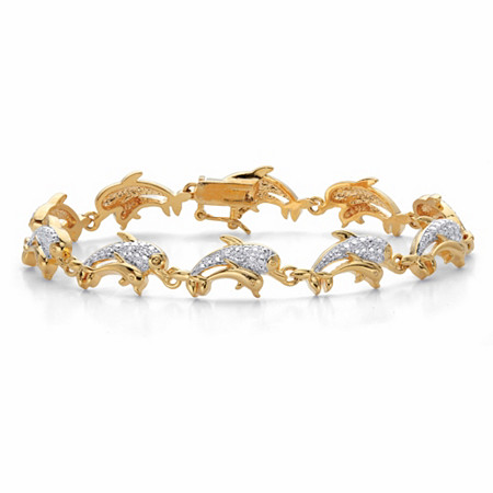 "Diamond Accent Two-Tone Mother and Baby Dolphin-Link Bracelet 14k Gold-Plated 7.25"" at PalmBeach Jewelry"