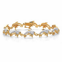 Diamond Accent Two-Tone Mother and Baby Dolphin-Link Bracelet 14k Gold-Plated 7.25