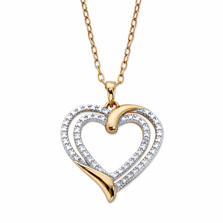 """Diamond Accent Two-Tone Double Heart Pendant Necklace 14k Gold-Plated 18"""" at PalmBeach Jewelry"""
