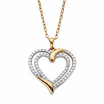 Diamond Accent Two-Tone Double Heart Pendant Necklace 14k Gold-Plated 18
