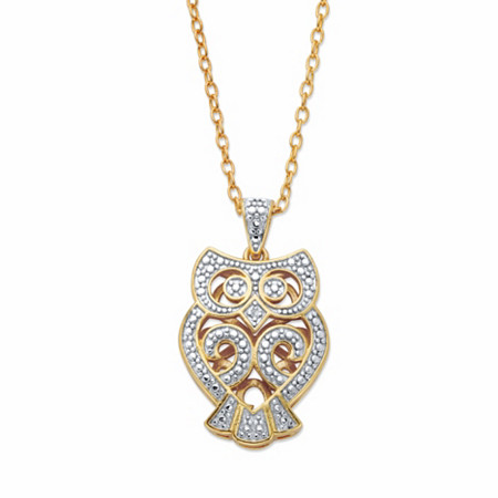 "Diamond Accent Two-Tone Owl Pendant Necklace 14k Gold-Plated 18"" at PalmBeach Jewelry"