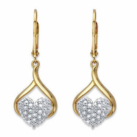 Diamond Accent Two-Tone Heart Drop Lever Back Earrings 14k Gold-Plated at PalmBeach Jewelry