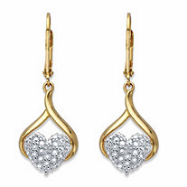 Diamond Accent Two-Tone Heart Drop Lever Back Earrings 14k Gold-Plated