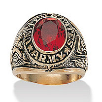 Men's Oval-Cut Ruby 14k Yellow Gold-Plated Antique-Finish Army Ring