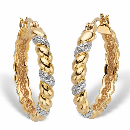 Diamond Accent Two-Tone Banded Hoop Earrings 14k Gold-Plated (31mm) at PalmBeach Jewelry