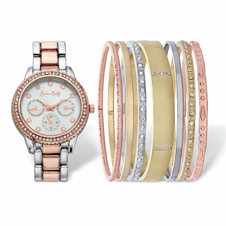 """Crystal Accent 8-Piece Tri-Tone Fashion Watch and Bangle Bracelet Set With Silver Face in Stainless Steel 7"""" at PalmBeach Jewelry"""