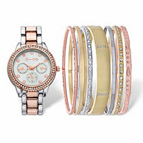 Crystal Accent 8-Piece Tri-Tone Fashion Watch and Bangle Bracelet Set With Silver Face in Stainless Steel 7""