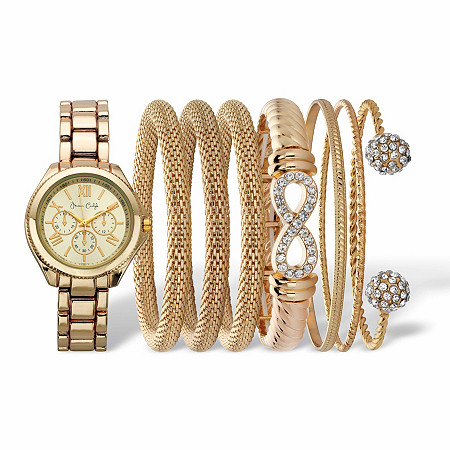 "Crystal Accent Watch and Snake-Link Bangle Bracelet 8-Piece Set with Gold Face in Gold Tone 7"" at PalmBeach Jewelry"