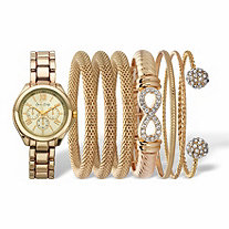 Crystal Accent Watch and Snake-Link Bangle Bracelet 8-Piece Set with Gold Face in Gold Tone 7""