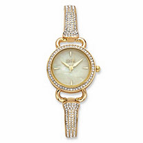 Jones New York Crystal Gold Tone over Stainless Steel Fashion Watch with Mother-of-Pearl Face 7""