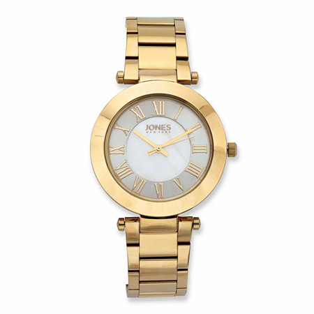 """Jones New York Beveled Fashion Watch with Mother-of-Pearl Face in Gold Tone over Stainless Steel 7.5"""" at PalmBeach Jewelry"""