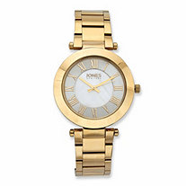 Jones New York Beveled Fashion Watch with Mother-of-Pearl Face in Gold Tone over Stainless Steel 7.5