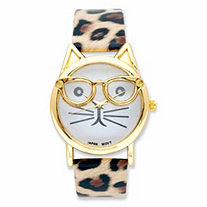 "Fashion Cat Watch with White Face and Leopard Print Band in Gold Tone 7.5""-9.5"""