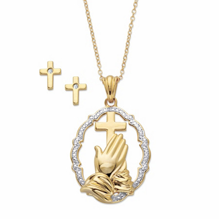 "Diamond Accent Two-Tone 14k Gold over Sterling Silver 2-Piece Set Praying Hands Pendant Necklace with Cross Earrings 18"" at PalmBeach Jewelry"