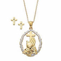 Diamond Accent Two-Tone 14k Gold over Sterling Silver 2-Piece Set Praying Hands Pendant Necklace with Cross Earrings 18