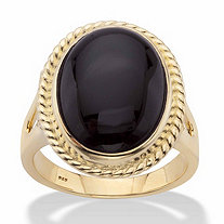 Genuine Black Onyx Oval Cabochon Banded Halo Ring in 14k Gold over Sterling Silver