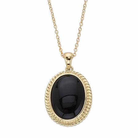 "Genuine Black Onyx Oval Cabochon Banded Halo Pendant Necklace in 14k Gold over Sterling Silver 18"" at PalmBeach Jewelry"