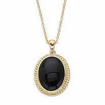 Genuine Black Onyx Oval Cabochon Banded Halo Pendant Necklace in 14k Gold over Sterling Silver 18