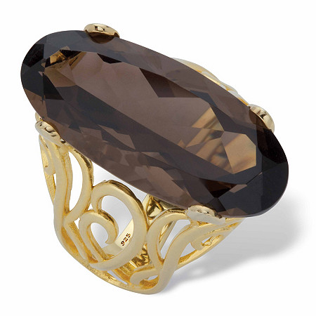 Genuine Smoky Topaz 14k Gold over Sterling Silver Oval-Cut Scrolled Ring 15 TCW in 14k Gold over Sterling Silver at PalmBeach Jewelry