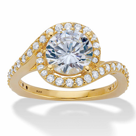 Round Cubic Zirconia Halo Bypass Engagement Ring 2.61 TCW in 14k Gold over Sterling Silver at PalmBeach Jewelry